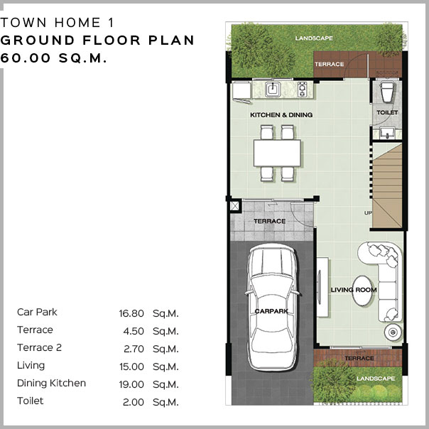 Baan Salil - Town Home 1 - Ground Floor Plan