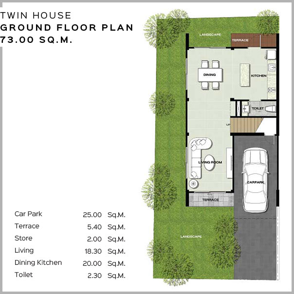 Baan Salil - Twin House Ground Floor Plan