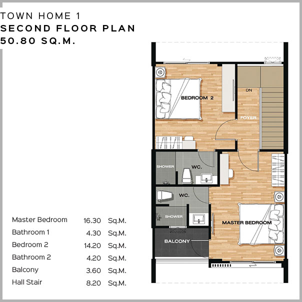 Baan Salil - Town Home 1 Second Floor Plan