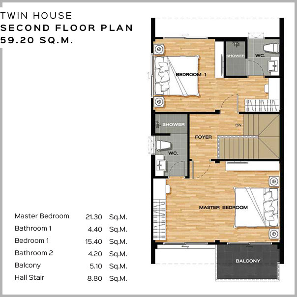 Baan Salil - Twin House Second Floor Plan