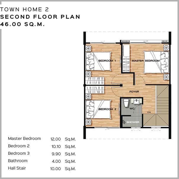 Baan Salil - Town Home 2 - Second Floor Plan